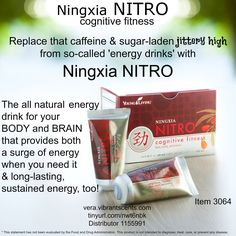 The new Ningxia NITRO is now available!   Dr. Oli Wenker (MD Anderson, Houston) suggested Young Living develop a healthy and natural energy drink. He gave his input and a year later - - - here it is!  This powerhouse of an energy drink is truly awesome. 4-5 hours of sustained energy for both your body and brain. Add to regular NingXia Red for 6-8 hours of energy!  Item number 3064  I ordered mine today!