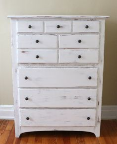 DIY White Distressed Furniture using homemade chalk paint