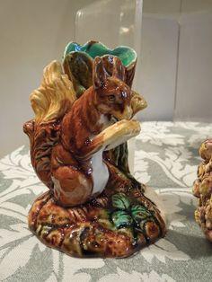 George Jones Majolica Squirrel Vase