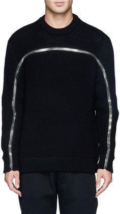 GIVENCHY Zip eyelet knit sweater