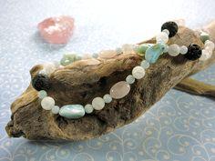Larimar Kette mit Lava und Rosenquarz Lava, Pink Quartz, Gems Jewelry, Rhinestones, Handmade, Pallet