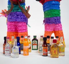 Well, there's a new kind of piñata in town, and this one's for adults only. They're called Nipyatas, and they're filled with nips of alcohol (those tiny, mini-bar and TSA-friendly plastic bottles of booze). 21st Party, 21st Birthday Gifts, 21st Gifts, Birthday Gifts For Boyfriend, Birthday Ideas, 31st Birthday, Gift Baskets For Men, Themed Gift Baskets, Raffle Baskets
