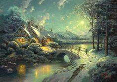 Christmas Moonlight | Artist: Thomas Kinkade