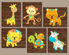 Safari Animals Nursery Wall Art - Jungle Animals - Baby Boy Pictures - Colorful Zoo Animals - Animal Nursery Decor Canvas or Prints Set of 6
