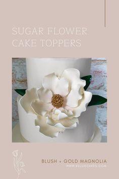 Diy Wedding Cake, Unique Wedding Cakes, Beautiful Wedding Cakes, Wedding Cake Toppers, Magnolia Cake, Magnolia Wedding, Sugar Flowers, Fresh Flowers, Flower Cake Toppers