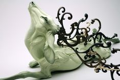 The amazing stoneware sculptures by Washington-based artist Beth Cavener Stichter demonstrate the extremes of human emotions and animalistic behavior. Contemporary Ceramics, Contemporary Art, Contemporary Sculpture, Animal Sculptures, Lion Sculpture, Ceramic Sculptures, Colossal Art, Illustrations, Traditional Art