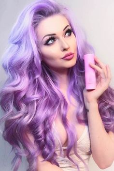 Hair styles Pastell Haarfarbe / / lila Haare / / lange Haare / / Strand Wellen / / rosa Highlights T Hair Color Purple, Cool Hair Color, Purple Gray, Pastel Purple Hair, Colorful Hair, Black Ombre, Hair Colours, Violet Hair Colors, Purple Ombre