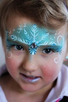 Halloween face paint ideas from Frozen 2015 - snowflake, forehead, Elsa - You will love these great 2015 Halloween face paint by hashtagseverywhere