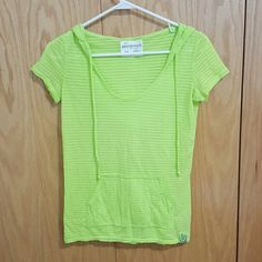 Sporty Striped Green Short Sleeve Hoodie Workout in style with this sporty top Aeropostale Tops Sweatshirts & Hoodies