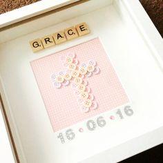 Girls christening button cross scrabble frame                                                                                                                                                     More