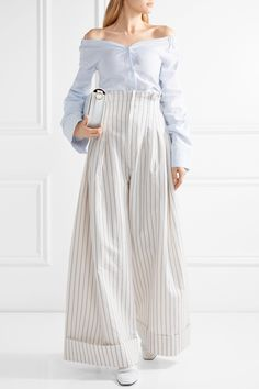Jacquemus | Striped cotton and linen-blend wide-leg pants | NET-A-PORTER.COM