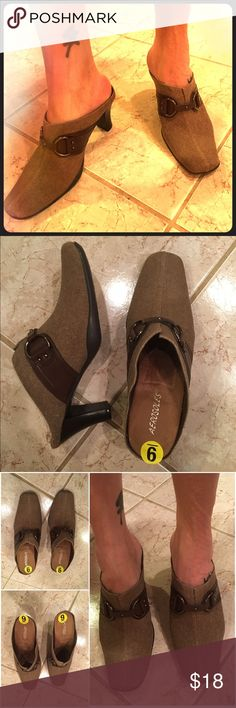 AEROSOLES 💛 Brown Tweed Mules Heels Booties NWOT NWT Aerosoles booties. Brown fabric with a rubber sole and faux leather accents. Size 9M. The comfort you expect from Aerosoles! AEROSOLES Shoes Mules & Clogs