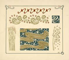 Abstract design based on grasses and leaves, from Combinaisons ornementales, by M. P. Verneuil, ca. 1900