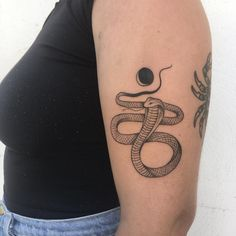 "981 Likes, 6 Comments - tattoo (@jen_vonklitzing) on Instagram: ""#cobra & #cresent for sweeto Julia #tattooed @lombardstreettattoo #blackwork #blackworkers…"""