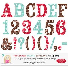 Christmas Alphabet Letter & Number Clipart