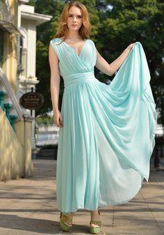 Light Blue Plain Sleeveless Chiffon Maxi Dress