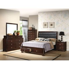 Home Source Bedroom Furniture Bed/Dresser/Mirror/2 Nightstands/Chest