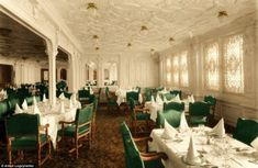 The liner has been authentically coloured in Mr Logvynenko's project that he started to commemorate the 100th anniversary of its sinking.  The dining room, painted here with white walls and green chairs, was a grand room