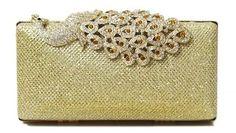 Amazon.com: Chicastic Mesh Rhinestone Peacock Hard Box Wedding Cocktail Clutch Purse - Gold: Clothing