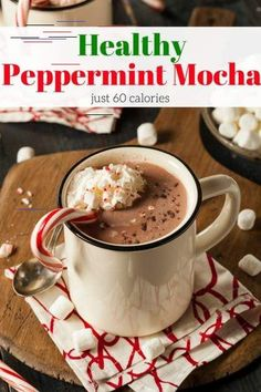 Healthy Peppermint Mocha - Slender Kitchen Healthy Peppermint Mocha that you can make at home in less than 5 minutes for just 62 calories and tastes as good as your favorite cafe. | Mocha | Healthy Mocha | Peppermint | Holiday | Winter | Comfort Food | Peppermint Mocha | Vegan | #healthyrecipes #weightwatchers #slenderkitchen #peppermintmocha #mocha #holidaybeverage #vegan