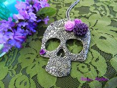 Large Day of the Dead Sugar Skull Necklace by AbbiesAnchor on Etsy, $14.00 #calveras #fiesta #dayofthedead