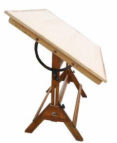 Vintage Industrial Oak Mayline Drafting Table W Blueprint .
