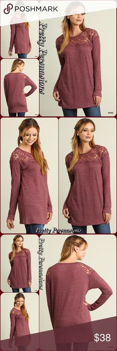 NWT Wine Long Sleeve & Lace Top NWT Wine Long Sleeve & Lace Top  Available in S, M, L  Features  • lace paneling along upper front • long sleeves • relaxed, easy fit • pull over design • soft, breathable material  Easily worn casually with jeans or dressed up for work or a dinner date!   Bundle discounts available  No pp or trades  Item # 1/1011200380WLT long sleeve top tunic lace crochet wine Pretty Persuasions Tops