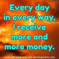Money affirmation for daily increase of money. http://www.loapowers.com/start-with-law-of-attraction/