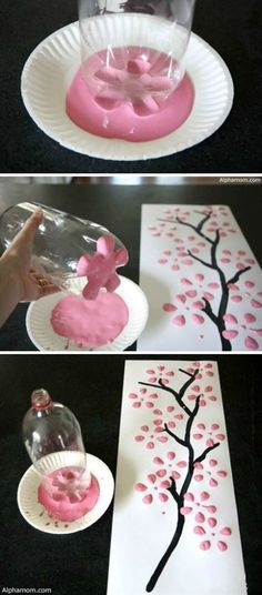 Bottom of a 2 liter, paint a trunk/branch/stems/whatever, colored paint for petals and BOOM!