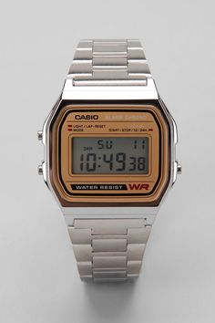 Casio Chrome & Gold Digital Watch old school watch hipster fashion men tumblr style