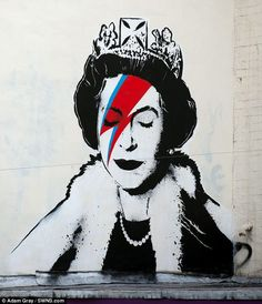 Banksy creates unique Jubilee tribute of the Queen as David Bowie's Aladdin Sane.
