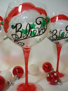 Christmas Wine  Glasses  Santa   Set of 2 by GlassWorksEtc on Etsy, $48.00