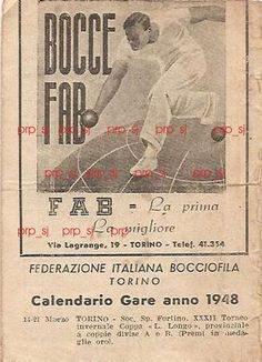 GIOCO BOCCE TORINO FAB CALENDARIO GARE TORINO 1948   Collezionismo, Collezionismo sportivo, Altri sport   eBay!