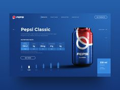 Pepsi Web-site UI Design Concept by Anton Suprunenko on Dribbble Ui Ux Design, Design Lab, Art Design, Graphic Design, Web Layout, Layout Design, Gui Interface, Pepsi Logo, Responsive Layout
