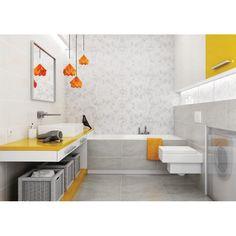 Bathroom Tile Chair Rail Inspirational Å azienka ZdjÄ cie Od Ceramika Parad. Bathroom Rack, White Bathroom Tiles, Yellow Bathrooms, Bathroom Renos, White Tiles, Bathroom Furniture, Organizing Wires, Bathroom Images, Bathroom Designs