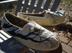 harry potter painted shoes | ... bare branches-wedding-hand painted Toms shoes-made to order on Wanelo