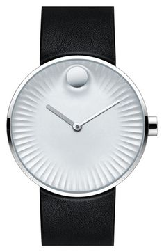 Movado 'Edge' Leather Strap Watch, 40mm available at #Nordstrom