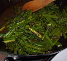 Asian Asparagus. This is my go-to side dish with Asian food, especially if I don't want to futz around with a big stir fry. Tastes like Chinese takeout. I double all the sauce ingredients and use vegetarian Oyster sauce. Also yummy with broccoli.
