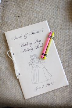 """A personalized wedding day """"activity book"""" to keep any kids occupied on the big day.  