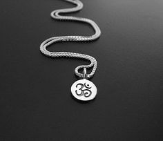 Inspirational Yoga Jewelry- Meaningful Jewelry Gifts-Om Sterling Silver  Necklace Jewelry- Intuition Harmony