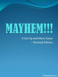 A Get Up and Move Game ~ Decimal Edition