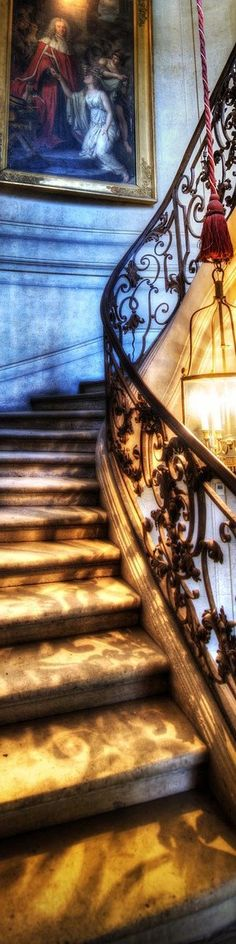 "Stairs at a French Chateau - from the Exhibition: ""Cropped for Pinterest"" - photo from #treyratcliff Trey Ratcliff at www.StuckInCustoms.com Be hold the truth is to be awaited Amazing Architecture, Architecture Details, French Chateau, Decoration, Interior Desing, Beautiful Homes, Grand Staircase, Marble Staircase, Winding Staircase"