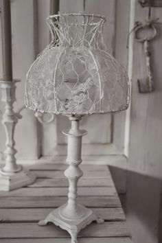 Lamp shade from chicken wire and lace