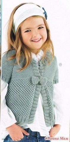 Vest with bow for girls - Fashionable knitting Crochet Baby Sweaters, Crochet Jumper, Knitted Baby Cardigan, Knit Crochet, Kids Knitting Patterns, Knitting For Kids, Baby Knitting, Cast On Knitting, Girls Bows