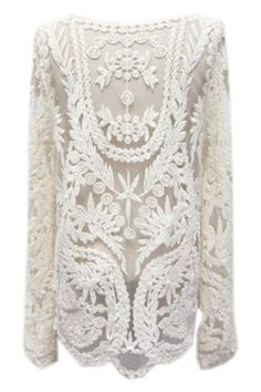 Lace Crochet Embroidered White Blouse #ROMWE