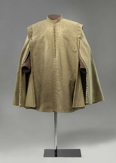 Riding cloak of Ernst Casimir of Nassau-Dietz, anoniem, in or before 1632  Wol, zijde, linnen, hout, zilver of goud, l 103.0cm. More details  Ernst Casimir, Count of Nassau-Dietz, wore this riding cloak at the Siege of Roermond in 1632. He was Stadtholder of Friesland and one of the most important Dutch army commanders. Although Roermond was retaken, it remained in Dutch hands a mere five years before it was reconquered by the Spanish. Only in 1814 was Roermond definitively established as…