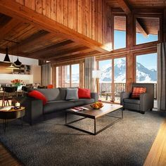 The perfect place for hot chocolates and Valentines cuddles... #Interiors #InteriorDesign #HomeDesign #HomeDecor #Design #Luxury #Home #DreamHome #Kitchen #RealEstate #Property #Realtor #Ski #Chalet #Skiing #Snow #France