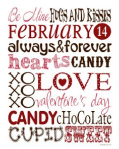 Free Digital Download Valentine's Day Subway Art - teacherspayteachers.com