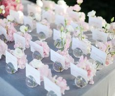 Pretty little blush pink flowers in small glass vases for an escort card display! Ooh LaLa La Fete » Blog