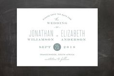 """Formal Plain"" - Formal, Elegant Save The Date Postcards in Dove by Phrosne Ras."